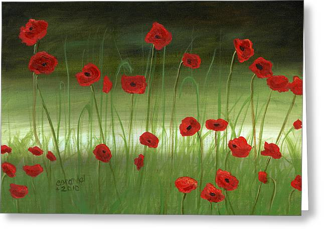 red poppies in the woods Greeting Card by Cecilia  Brendel