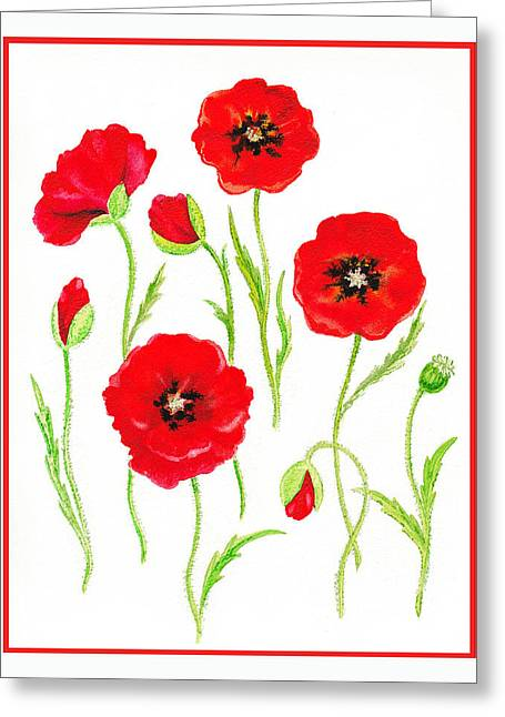 Celebration Paintings Greeting Cards - Red Poppies Greeting Card by Irina Sztukowski