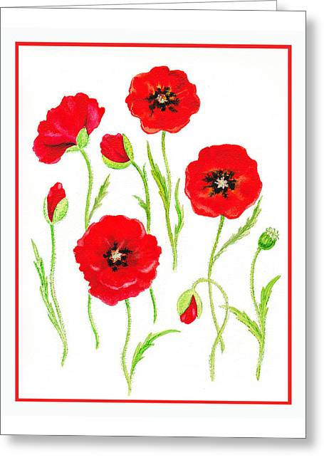 Landscape. Scenic Paintings Greeting Cards - Red Poppies Greeting Card by Irina Sztukowski