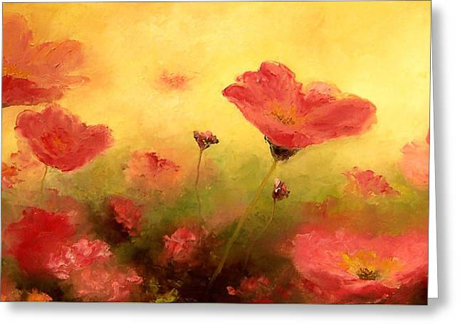 Pink Flower Prints Greeting Cards - Red poppies Greeting Card by Jan Matson
