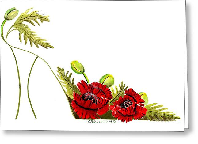 High Heels Abstract Art Greeting Cards - Red Poppies Stiletto  Greeting Card by Elena  Feliciano