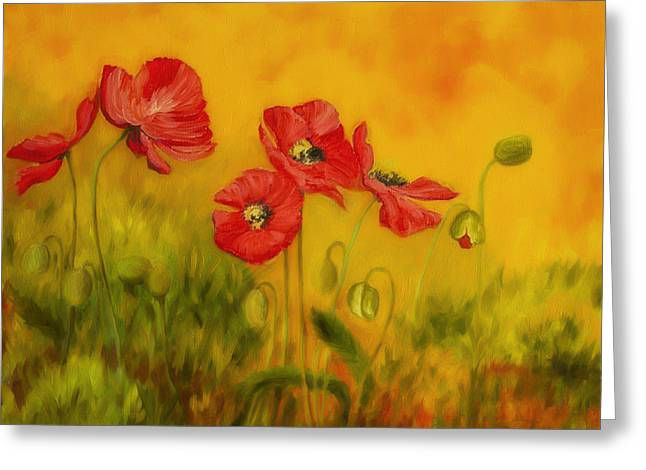 Vibrant Green Greeting Cards - Red Poppies Greeting Card by Veikko Suikkanen
