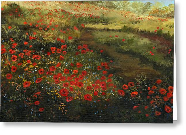 Cecilia Brendel Greeting Cards - Red Poppy Field Greeting Card by Cecilia  Brendel