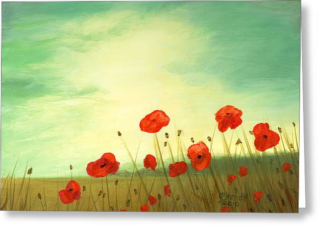 Red poppy field with green sky Greeting Card by Cecilia  Brendel