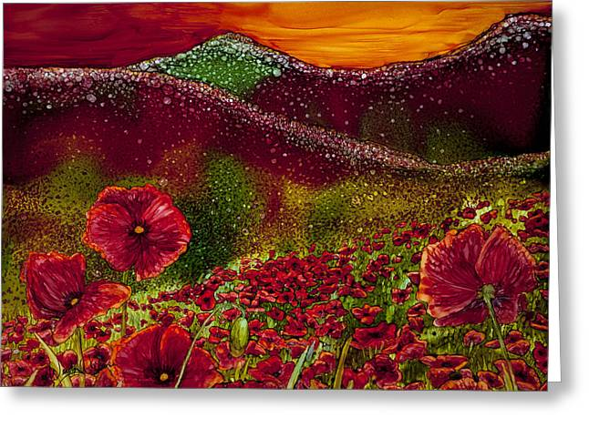 Recently Sold -  - Snowy Night Night Greeting Cards - Red Poppy Hills Greeting Card by Wendy Wilkins
