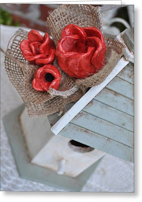 Chic Ceramics Greeting Cards - Red Poppy Inn Greeting Card by Amanda  Sanford