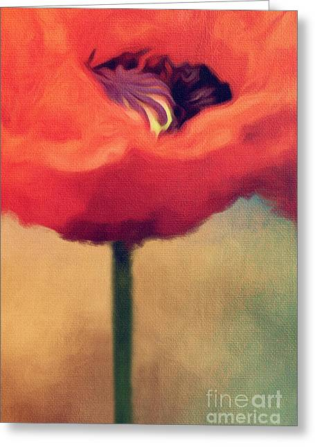 Nature Study Digital Art Greeting Cards - Red Poppy Greeting Card by Rosie Nixon