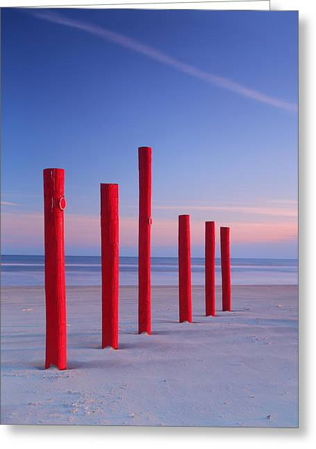 Galveston Greeting Cards - Red Posts - Galveston Island 2AM-001570 Greeting Card by Andrew McInnes