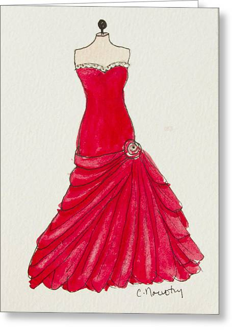 Ball Gown Paintings Greeting Cards - Red Princess Gown Greeting Card by Cindy Nowotny