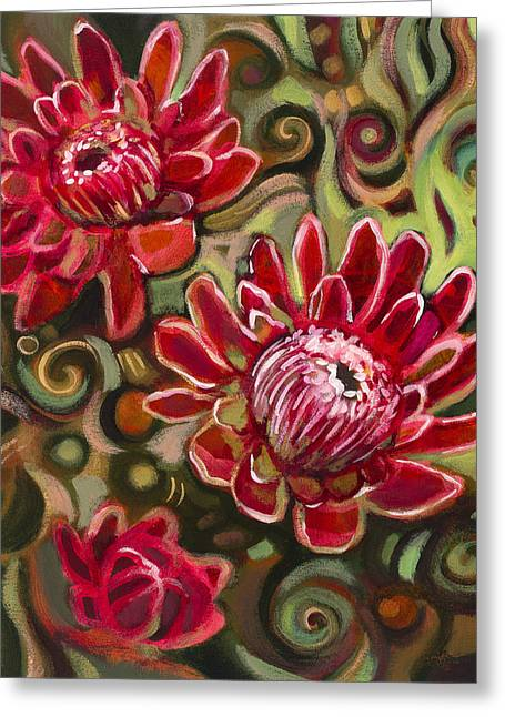 Earth Tone Art Greeting Cards - Red Proteas Greeting Card by Jen Norton