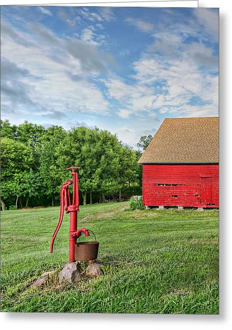 Faucet Greeting Cards - Red Pump in Summer Greeting Card by Nikolyn McDonald