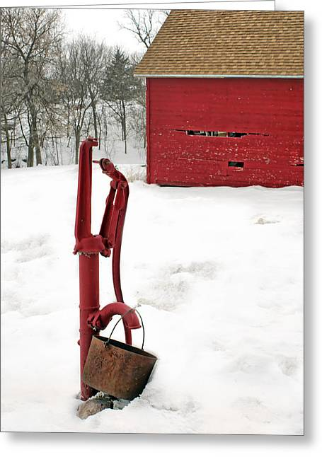 Faucet Greeting Cards - Red Pump in Winter Greeting Card by Nikolyn McDonald