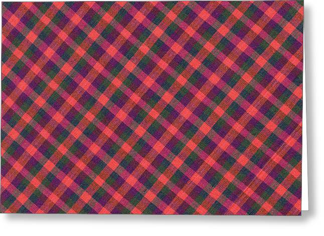 Checked Tablecloths Photographs Greeting Cards - Red Purple and Green Diagonal Plaid Textile Background Greeting Card by Keith Webber Jr