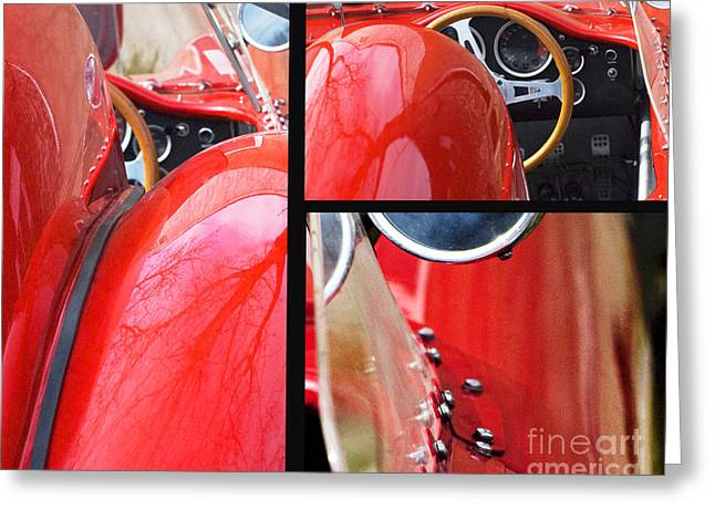 Chrome Mixed Media Greeting Cards - Red Racing Ferrari Collage Greeting Card by AdSpice Studios