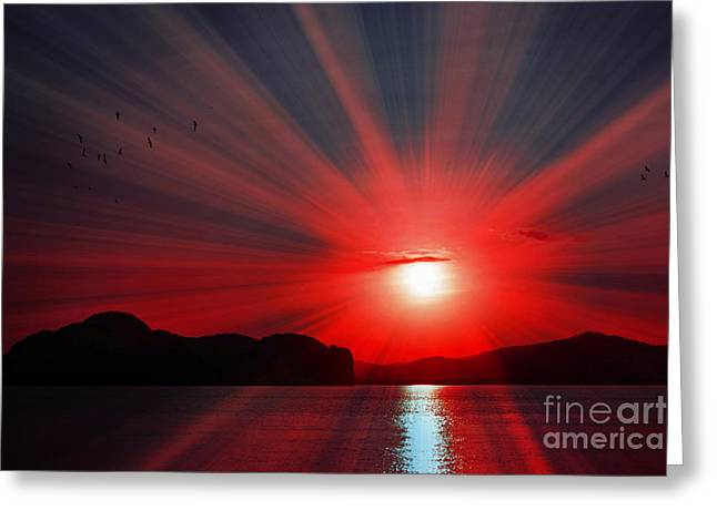 Red Radiance Greeting Card by Kaye Menner