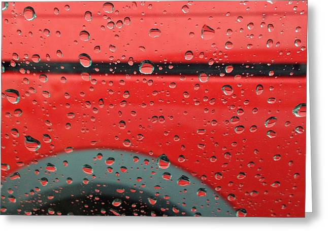 Abstract Rain Greeting Cards - Red Rain Greeting Card by Don Spenner