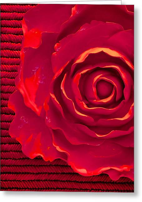 Textured Floral Greeting Cards - Red Red Rose Greeting Card by Art Block Collections