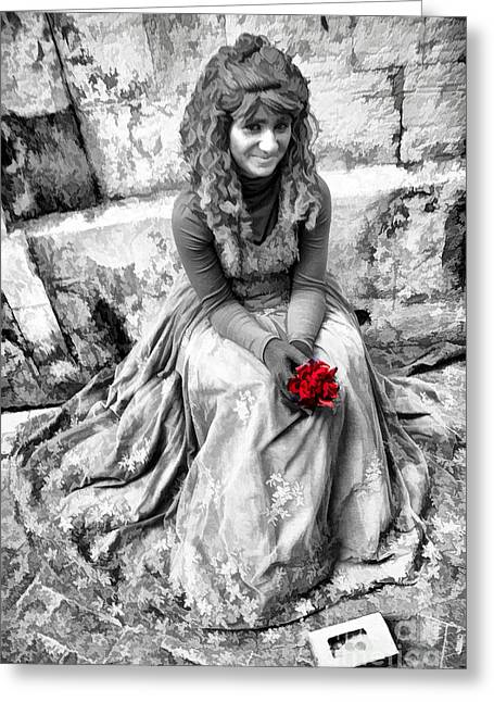 Sicily Greeting Cards - Red Red Rose in Black and White Greeting Card by David Smith