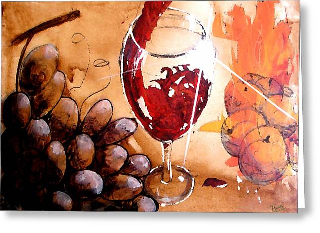 Wine Pour Digital Greeting Cards - Red red wine Greeting Card by Marcello Cicchini