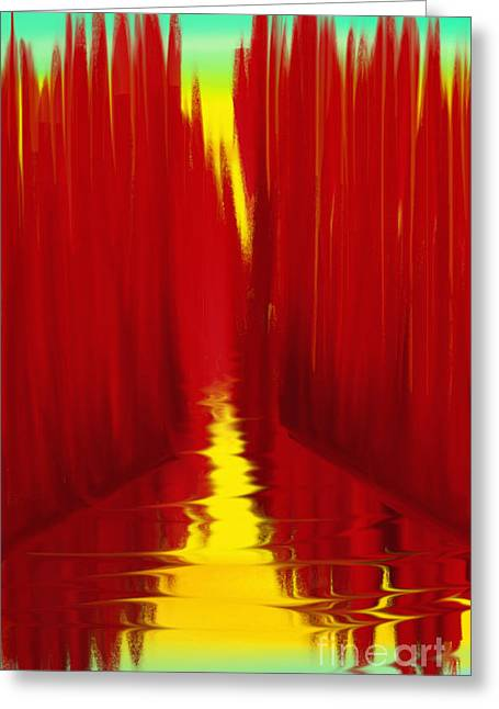 Abstract Digital Paintings Greeting Cards - Red Reed River Greeting Card by Anita Lewis