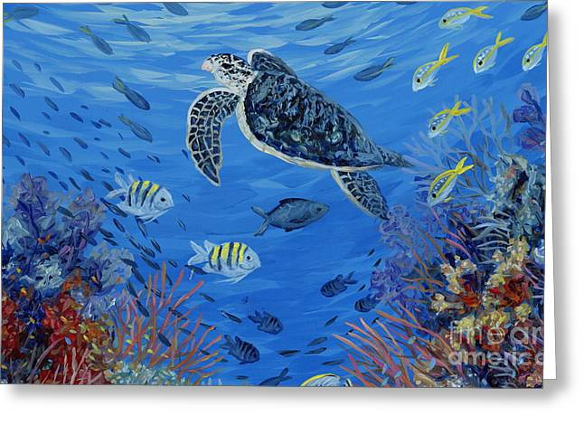 Snapper Paintings Greeting Cards - Red Reef Greeting Card by Danielle  Perry