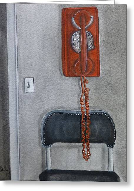 Telephone Greeting Cards - Red retro phone Greeting Card by Kelly Mills