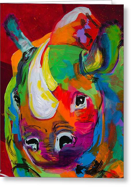 Red Rhino Greeting Card by Tracy Miller