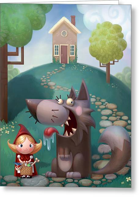 Funny Dog Digital Greeting Cards - Red Riding Hood Greeting Card by Adam Ford