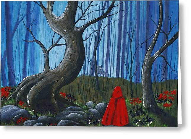 Kids Books Drawings Greeting Cards - Red Riding Hood in the Forest Greeting Card by Anastasiya Malakhova