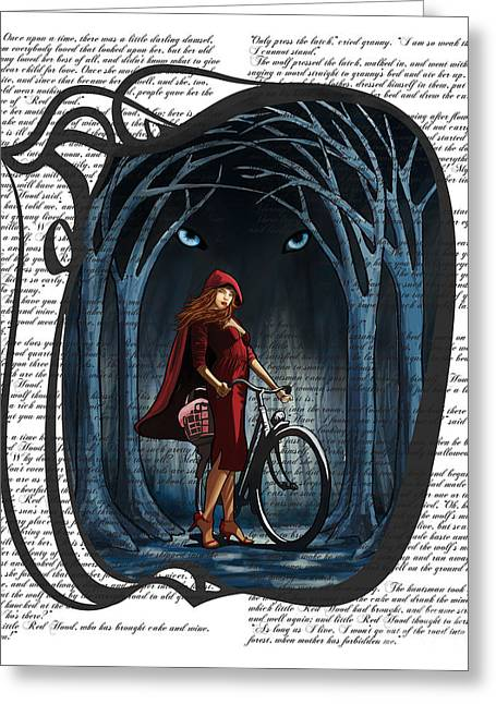 Scary Digital Art Greeting Cards - Red Riding Hood with text Greeting Card by Sassan Filsoof