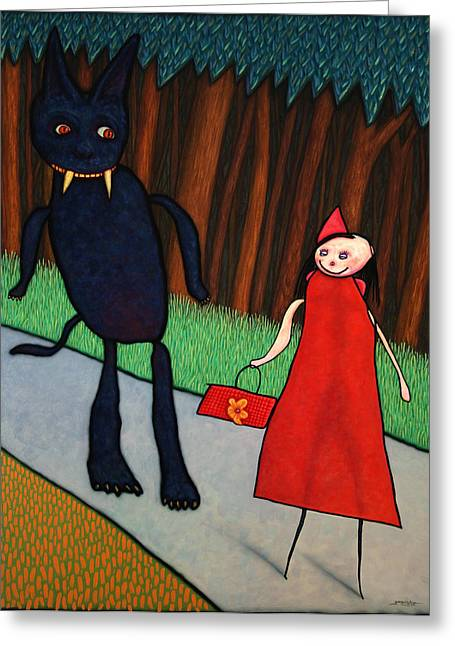 Fairy Tale Greeting Cards - Red Ridinghood Greeting Card by James W Johnson