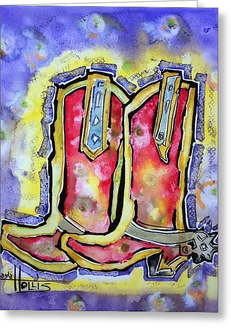 Award Winning Art Greeting Cards - Red River Boots Greeting Card by Gayla Abel  Hollis