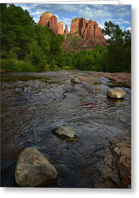 Cathedral Rock Greeting Cards - Red River Crossing under Cathedral Rock Greeting Card by Dave Dilli