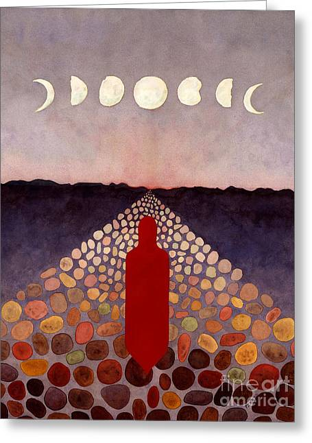 Sweat Paintings Greeting Cards - Red Road Red Spirit Figure Greeting Card by Pamela Yates