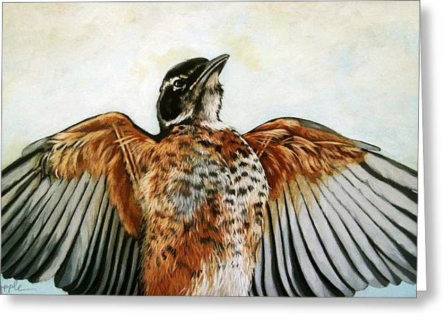 Linda Apple Paintings Greeting Cards - RED ROBIN Bird realistic animal art original painting Greeting Card by Linda Apple