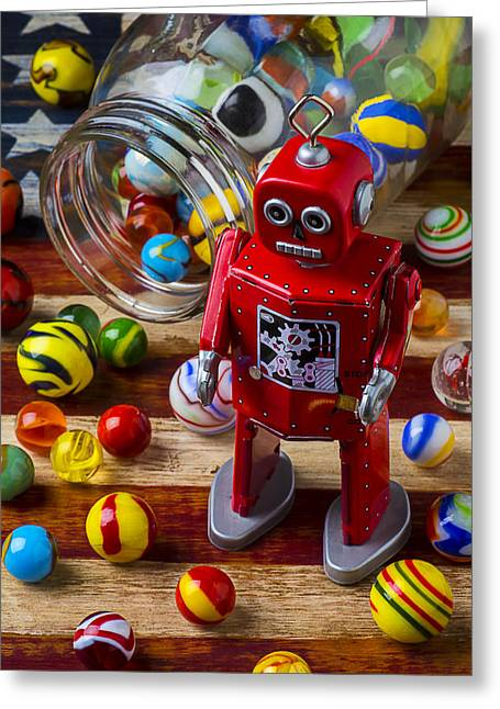 Glass Wall Greeting Cards - Red robot and marbles Greeting Card by Garry Gay