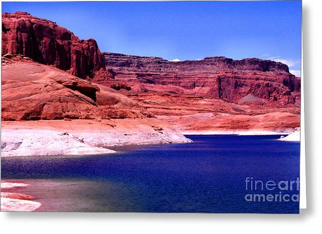 Desert Lake Digital Art Greeting Cards - Red Rock Blue Sky Greeting Card by Thomas R Fletcher