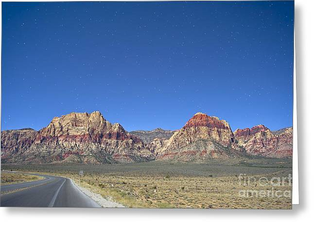 Red Rock Canyon Greeting Cards - Red Rock Canyon by Moonlight Greeting Card by C Sakura
