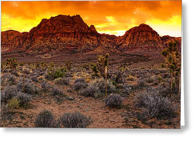 Oak Creek Greeting Cards - Red Rock Canyon Las Vegas Nevada Fenced Wonder Greeting Card by Silvio Ligutti