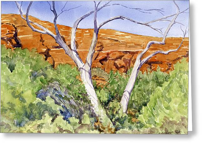 Red Rock Crossing Paintings Greeting Cards - Red Rock Crossing Guard Greeting Card by Gurukirn Khalsa