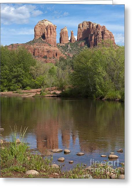 Red Rock Crossing Photographs Greeting Cards - Red Rock Crossing in Sedona Greeting Card by Sandra Bronstein