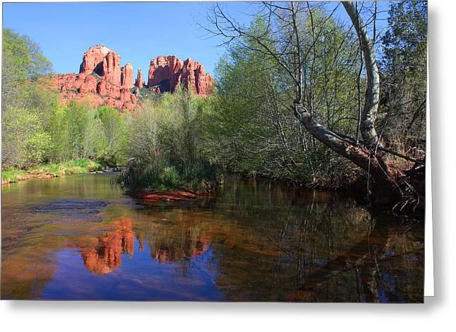 Red Rock Crossing Greeting Cards - Red Rock Crossing Oak Creek Greeting Card by Laurie Larson