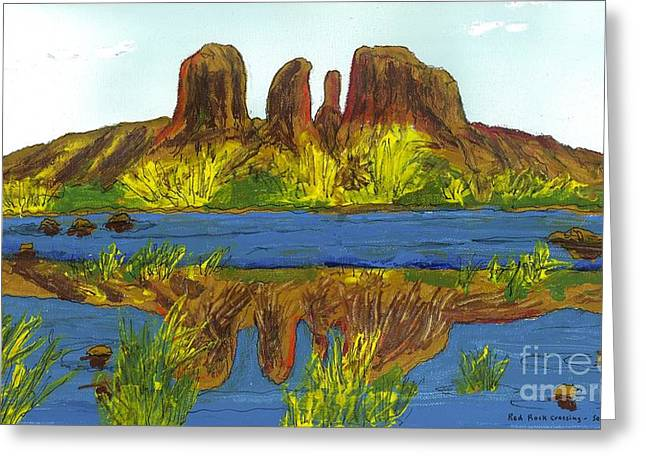 Red Rock Crossing Paintings Greeting Cards - Red Rock Crossing Greeting Card by Patrick Grills