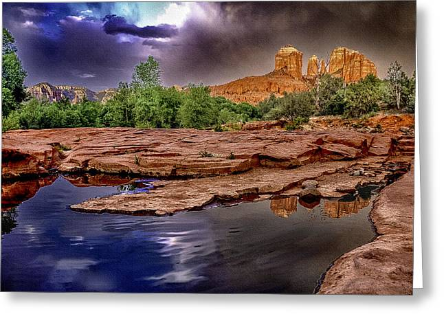 Cathedral Rock Greeting Cards - Red Rock Crossing Red Rock State Park Greeting Card by  Bob and Nadine Johnston