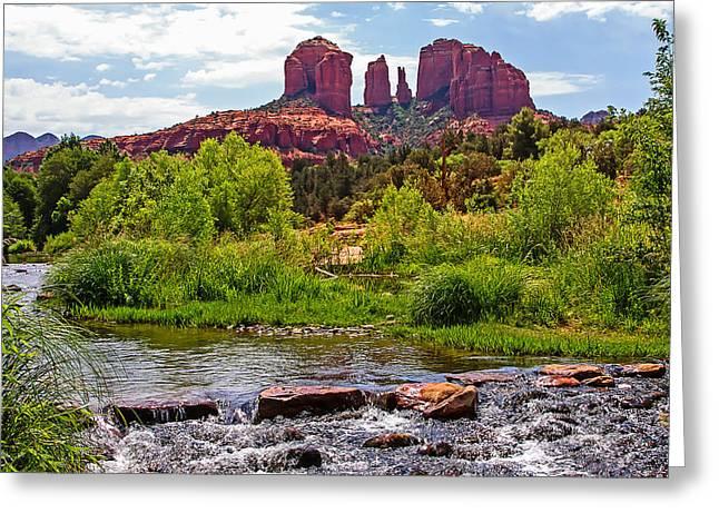 Red Rock Crossing Greeting Cards - Red Rock Crossing -  Sedona Arizona USA Greeting Card by Tony Crehan