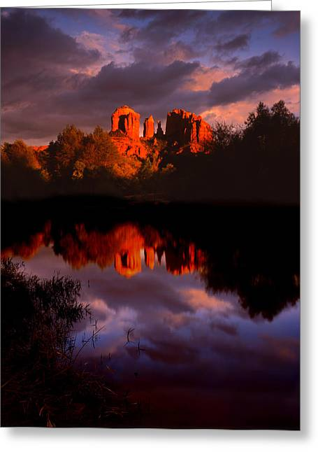 Red Rock Crossing Photographs Greeting Cards - Red Rock Crossing Sedona Greeting Card by Ray Mathis