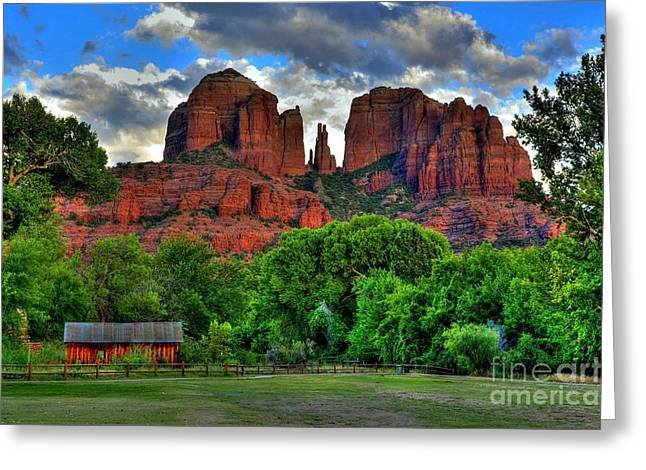 Cathedral Rock Digital Greeting Cards - Red Rock Crossing State Park Sedona Greeting Card by K D Graves