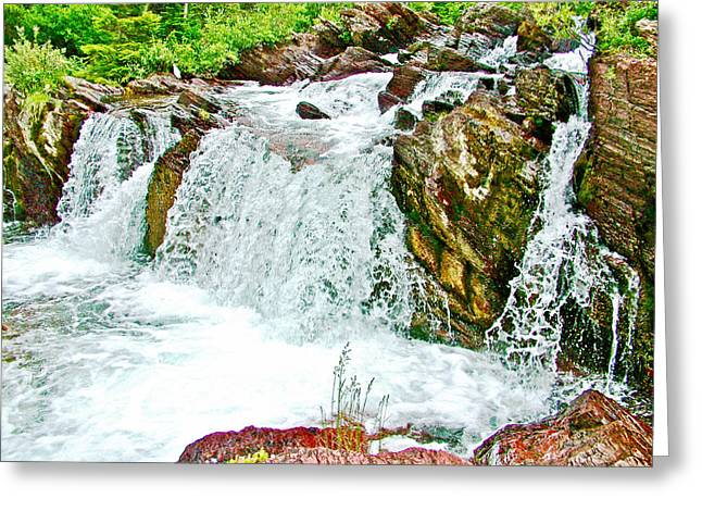 Swiftcurrent Falls Greeting Cards - Red Rock Falls on Swiftcurrent Pass Trail in Glacier National Park-Montana   Greeting Card by Ruth Hager