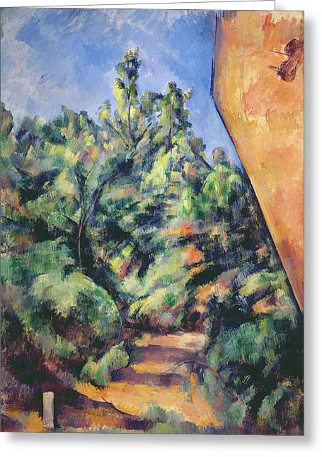 Victoire Paintings Greeting Cards - Red Rock Greeting Card by Paul Cezanne