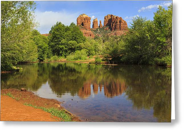 Cathedral Rock Greeting Cards - Red Rock Reflection Greeting Card by Mike Lang